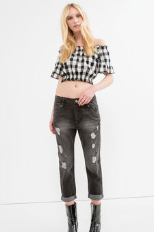 Used-effect, ripped boyfriend jeans, Black, hi-res