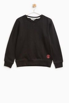 Sweatshirt in cotton with print on hem, Black, hi-res