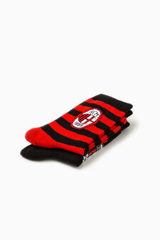 Two-pair pack socks with embroidery, Black/Red, hi-res