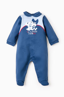 Solid colour onesie with animal patch, Blue/Light Blue, hi-res