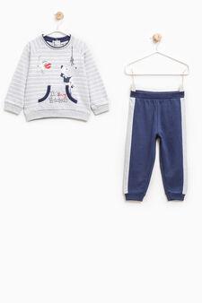 Pyjamas with pouch pocket, Grey/Blue, hi-res