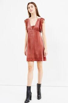 Short velvet dress with lace, Brick Red, hi-res