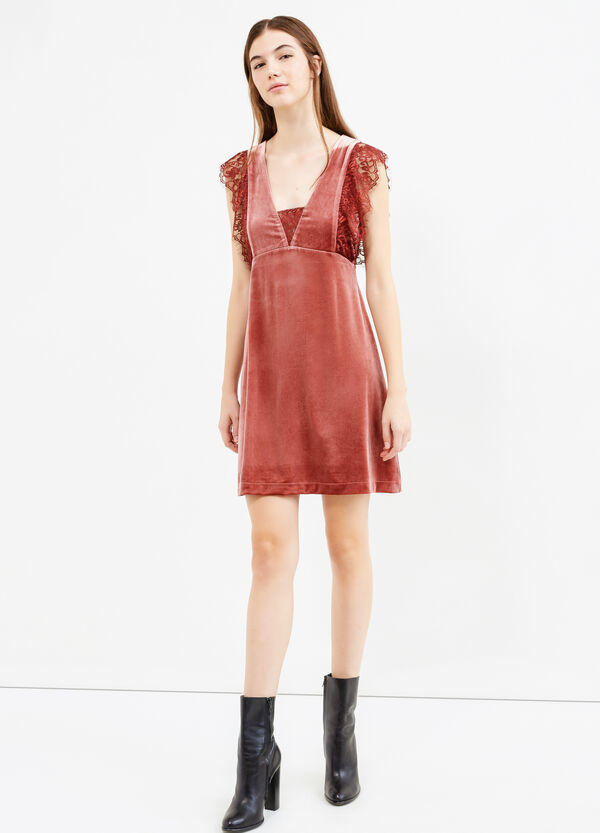 Short velvet dress with lace | OVS