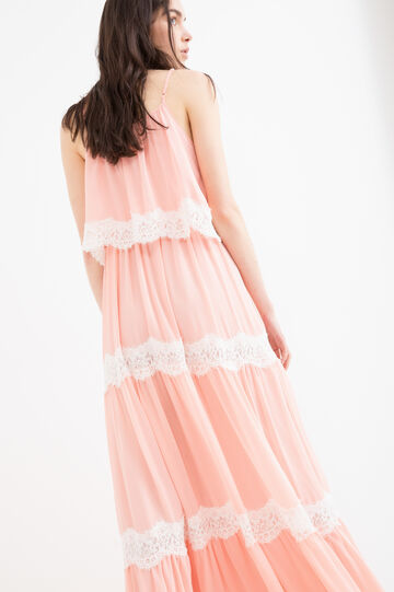 Sleeveless long dress with lace, Peach Orange, hi-res