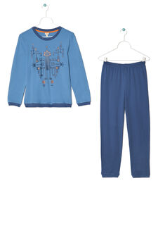 Printed pyjamas in 100% cotton, Blue, hi-res