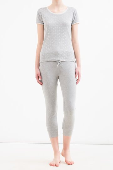 Patterned pyjama top in 100% cotton, White/Grey, hi-res