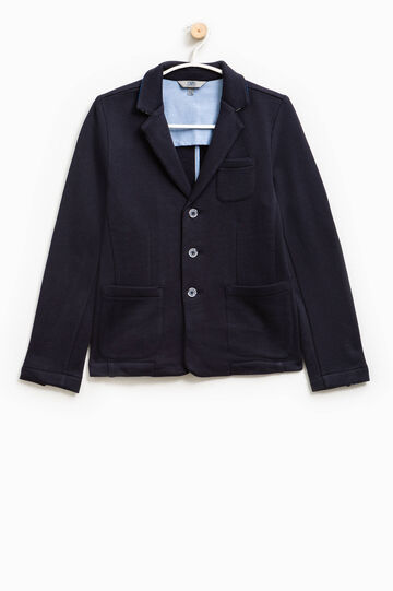 Three-button jacket with small pocket, Blue, hi-res