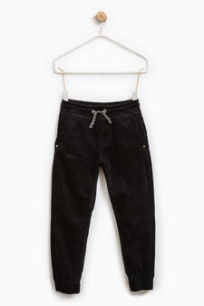 Solid colour trousers in 100% cotton, Black, hi-res
