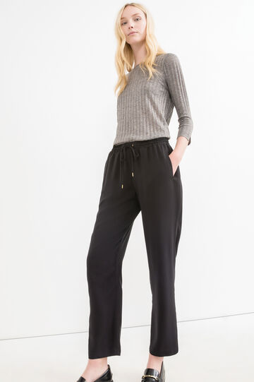 Joggers in 100% viscose with drawstring, Black, hi-res