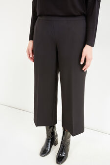 Curvy gaucho model stretch trousers, Black, hi-res