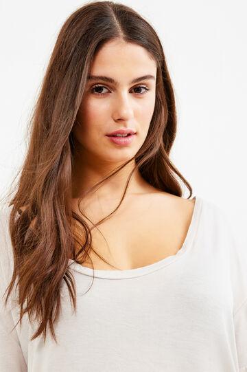 T-shirt pura viscosa tinta unita Curvy, Bianco gesso, hi-res