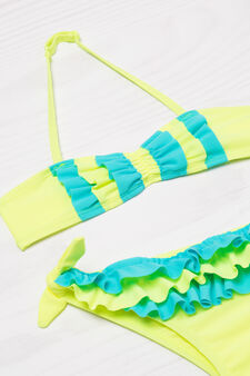 Stretch bikini with contrasting colour flounces, Yellow, hi-res