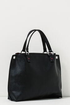 Textured effect handbag., Black, hi-res