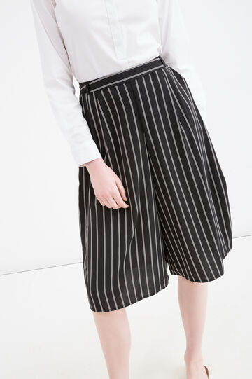 Striped culottes, Black/White, hi-res