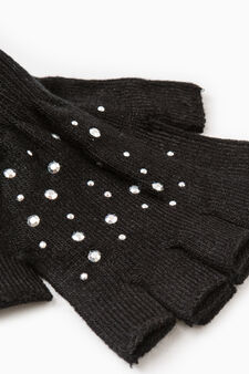 Solid colour gloves with diamantés, Grey/Silver, hi-res
