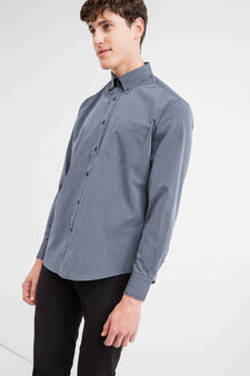 Camicia formale regular fit a righe, Blu scuro, hi-res