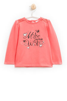 Stretch cotton T-shirt with sequins, Coral Pink, hi-res