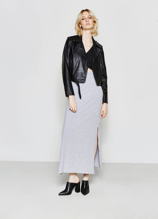 Solid colour long stretch skirt | OVS