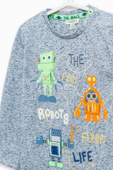 Long-sleeved cotton T-shirt, Soft Blue, hi-res