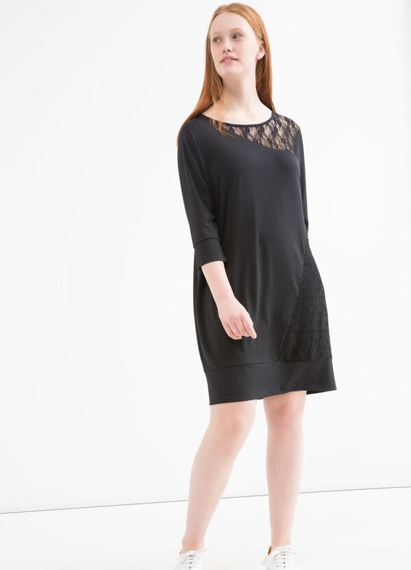 Curvy stretch dress with lace. | OVS