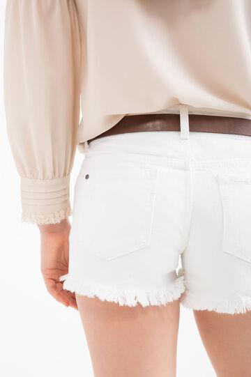 Ripped denim shorts, White, hi-res