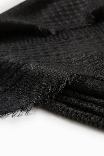 Solid colour openwork scarf, Black, hi-res