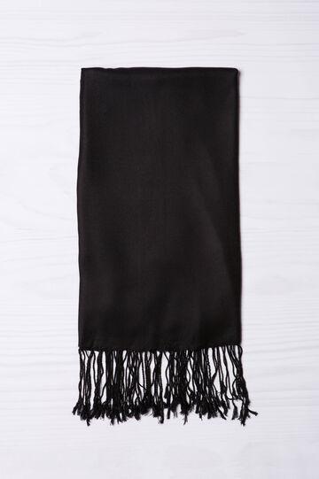 Solid colour 100% viscose pashmina., Black, hi-res