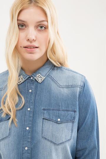 Curvy diamanté denim shirt, Denim, hi-res
