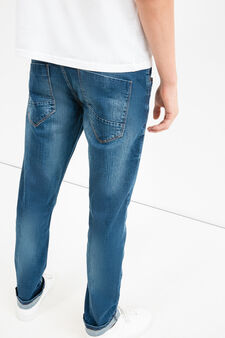 Slim-fit, worn-effect, stretch jeans with whiskering, Denim, hi-res