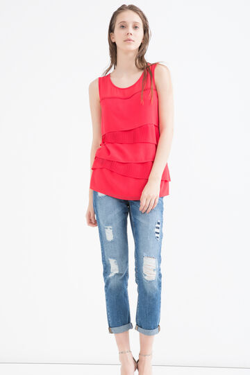 Sleeveless blouse with frills, Red, hi-res