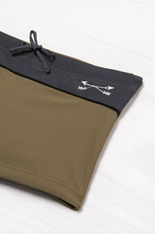 Stretch swim boxer shorts with drawstring, Army Green, hi-res