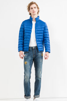 Quilted down jacket with high neck, Cornflower Blue, hi-res