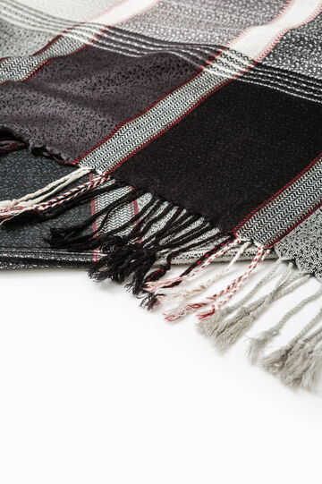 Viscose scarf with check pattern, Black/Grey, hi-res