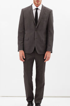 Solid colour elegant suit with regular fit, Brown, hi-res