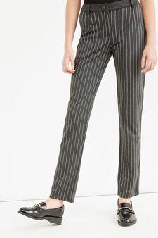 Pantaloni eleganti viscosa a righe, Grigio melange, hi-res