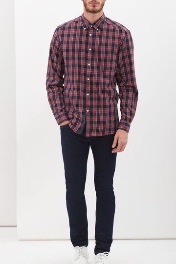 Camicia regular fit a quadri, Blu/rosso, hi-res