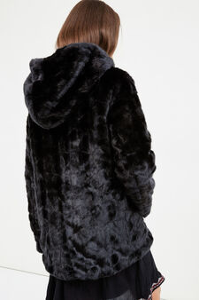 Teen fur jacket with zip, Black, hi-res