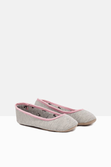 Ballerina flat slippers with printed inner, White/Grey, hi-res