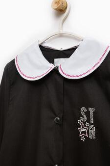 Cotton smock with diamantés on chest, Black, hi-res