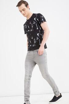T-shirt cotone effetto macchie, Nero, hi-res