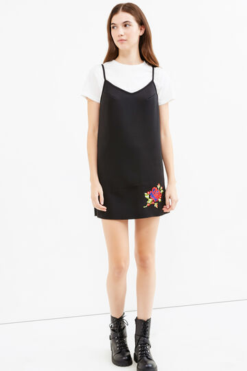 Sleeveless dress with crop T-shirt underneath, Black, hi-res