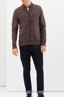 G&H 100% cotton sweatshirt with zip, Concrete Grey, hi-res