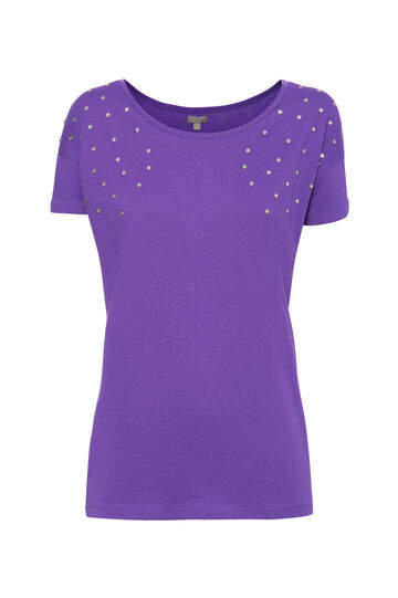 T-shirt cotone strass Smart Basic, Viola, hi-res