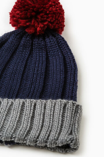 Knit beanie with pompom, Navy Blue, hi-res