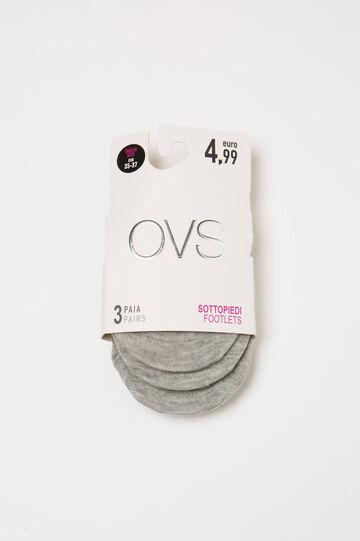 Set tre calze salvapiede stretch, Grigio, hi-res
