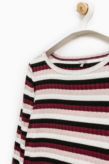 T-shirt a coste rigata Smart Basic, Nero/Rosso, hi-res