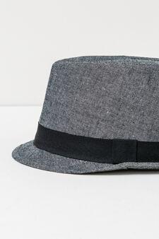 Cotton hat with ribbed band, Grey Marl, hi-res