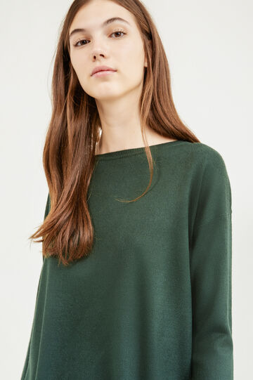 Solid colour boat-neck pullover., Green, hi-res