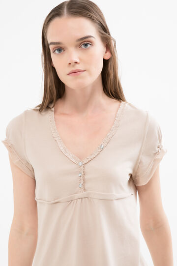 Diamanté T-shirt in 100% cotton, Sand, hi-res