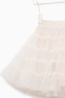 Solid colour flounced skirt in tulle, Milky White, hi-res